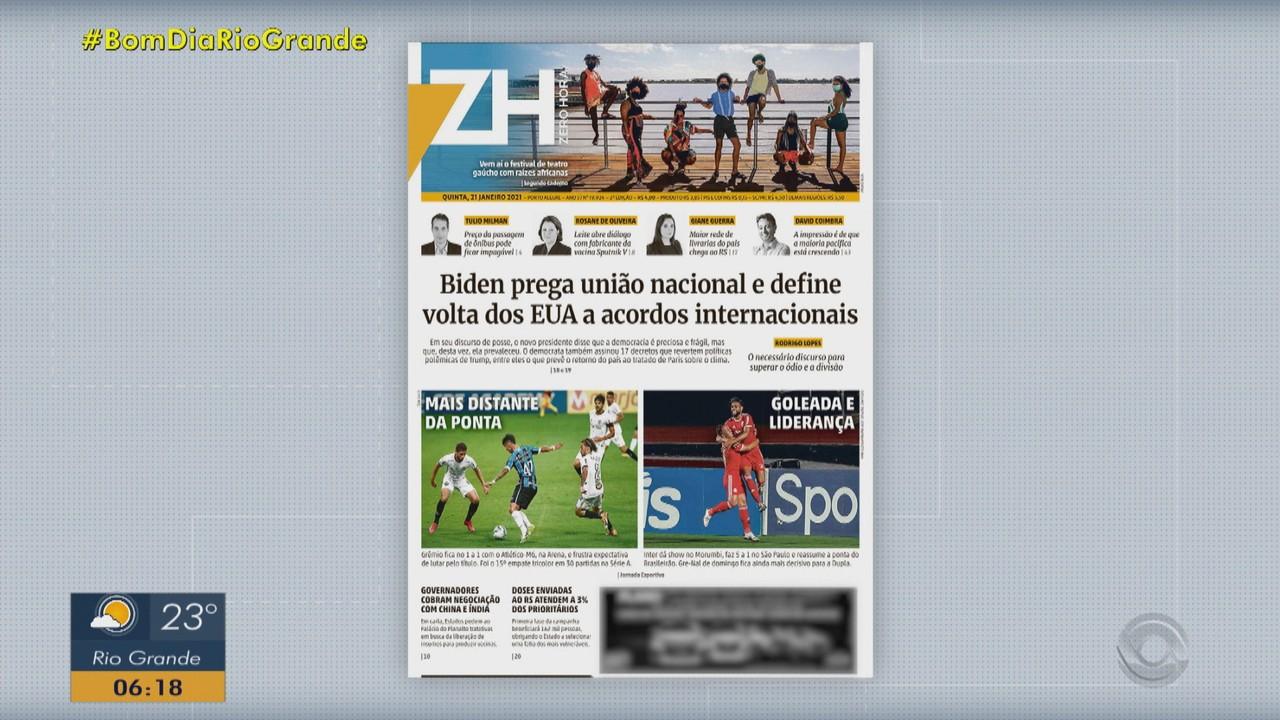 Confira as principais capas dos jornais do RS desta quinta-feira (21
