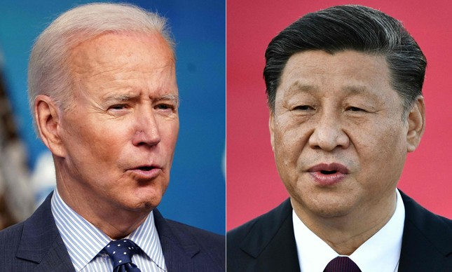 Montagem de fotos com os presidentes dos EUA, Joe Biden, e da China, Xi Jinping