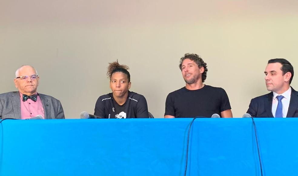 Coletiva de Rafaela Silva, do judô, sobre caso de doping — Foto: João Gabriel