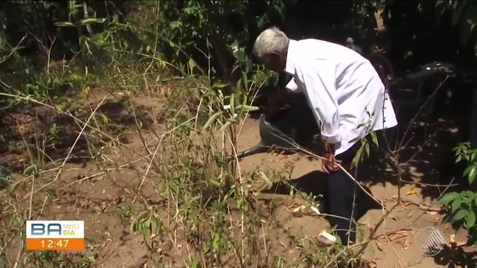 Clóvis diz que uma das coisas que mais gosta de fazer é cuidar da plantação de casa — Foto: Reprodução/TV Sudoeste