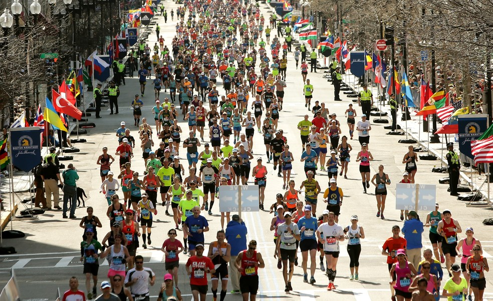 Competidores na Maratona de Boston em 2019 — Foto: Getty Images