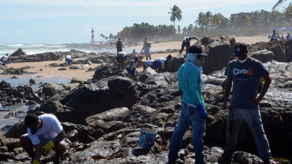 Com Farol de Itapuã ao fundo, voluntários trabalham na limpeza do óleo em Salvador — Foto: Victor Uchôa/BBC