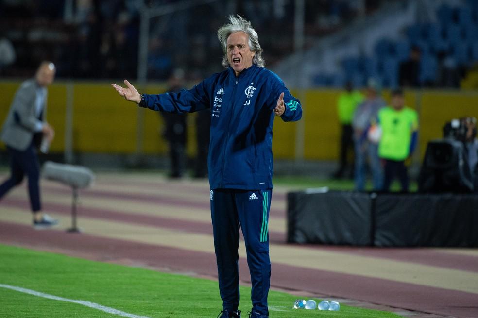 O desempenho do time equatoriano surpreendeu Jorge Jesus — Foto: Alexandre Vidal/Flamengo