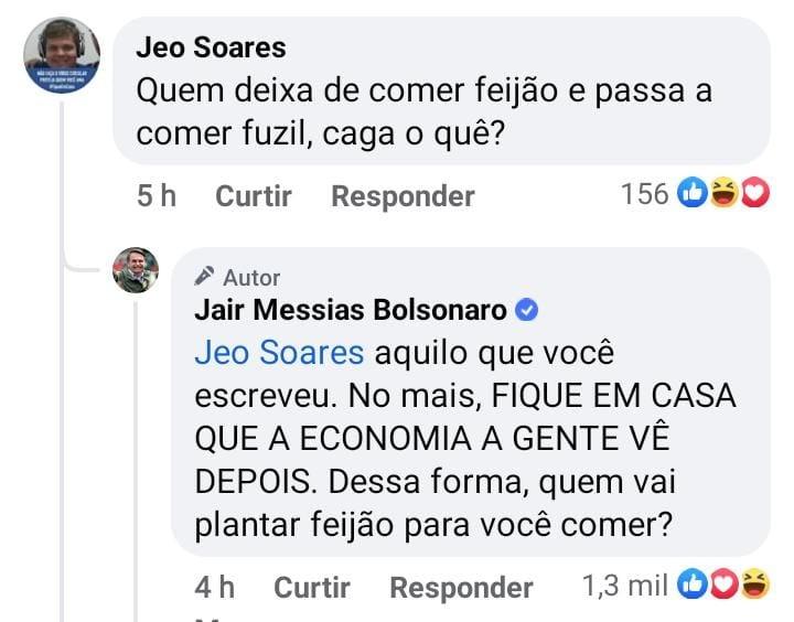 Bolsonaro responde a comentário no Facebook