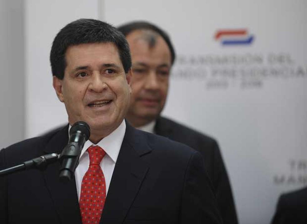 Ex-presidente do Paraguai Horacio Cartes em um evento quando ainda era chefe de Estado — Foto: Norberto Duarte/ AFP