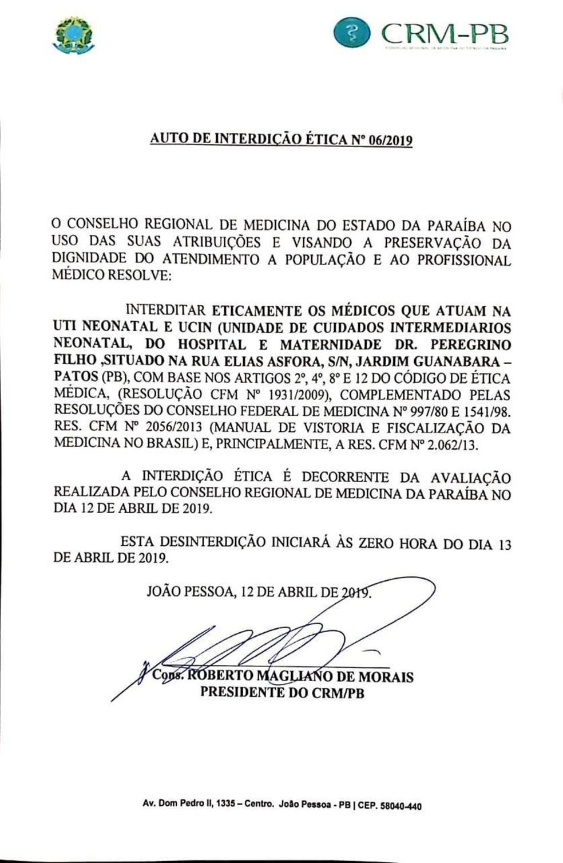 Conselho Regional de Medicina da Paraíba (CRM-PB) interditou eticamente, unidade no Hospital e Maternidade — Foto: Reprodução/CRM-PB
