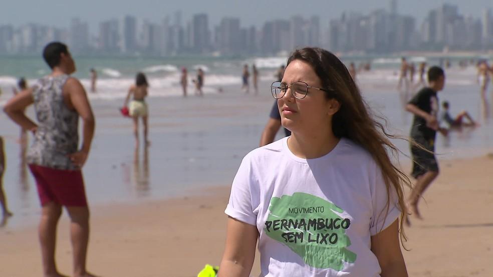 Bárbara Lima é do movimento Pernambuco sem Lixo — Foto: Reprodução/TV Globo