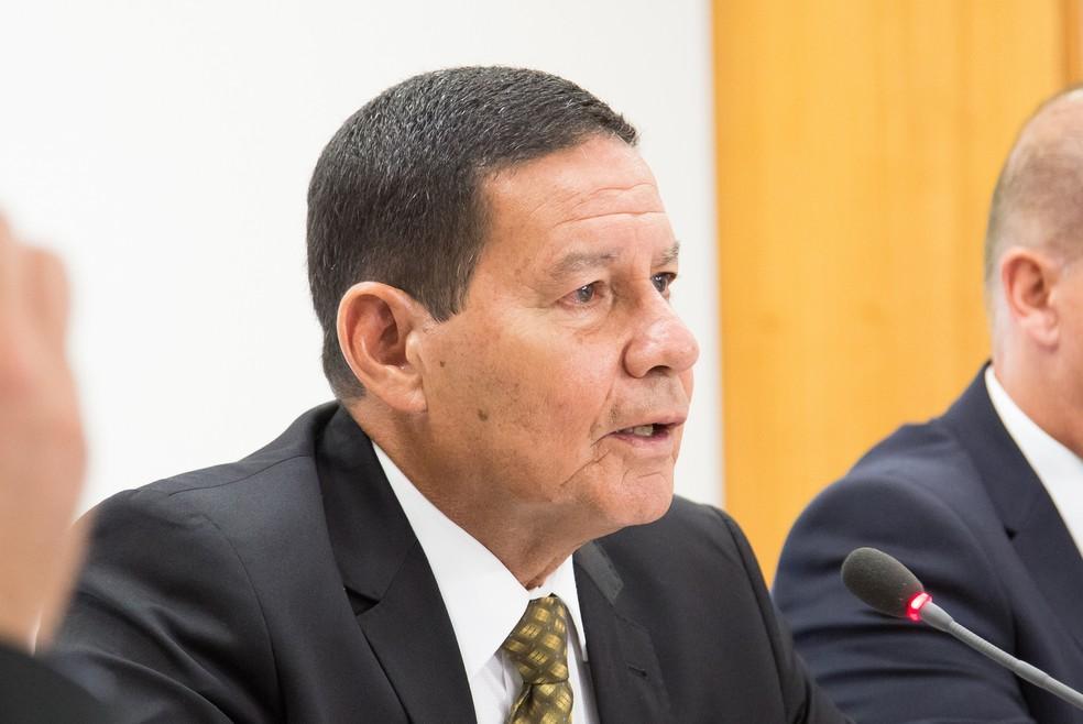 O vice-presidente Hamilton Mourão durante reunião em fevereiro no Palácio do Planalto — Foto: Romério Cunha/VPR