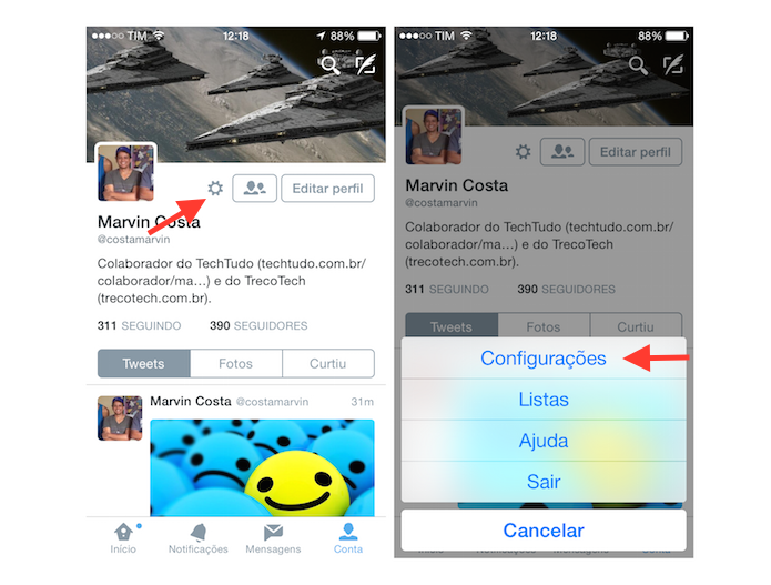 Acessando as configura??es do Twitter no iOS (Foto: Reprodu??o/Marvin Costa)