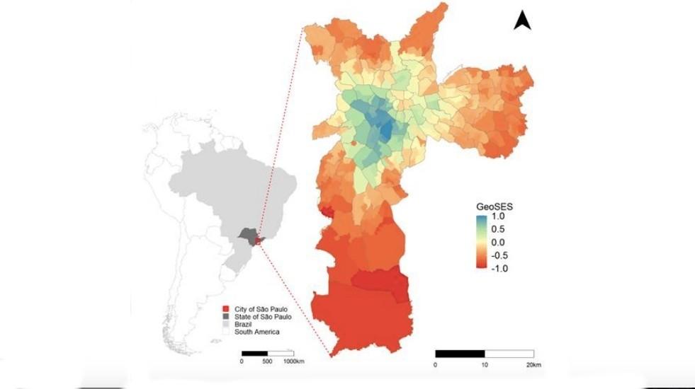 As regiões em vermelho são as de pior nível socioeconômico e, as áreas em azul, são as com melhor classificação segundo o indicador (Foto: Reprodução/arxiv.org)