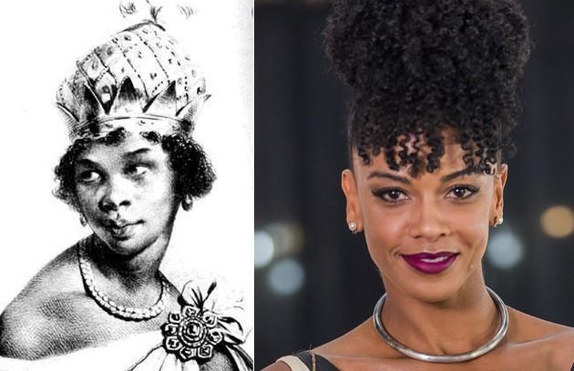 Heloisa Jorge será a rainha africana Nzinga Mbande, que lutou contra traficantes de escravos (Foto: Reprodução e Globo)