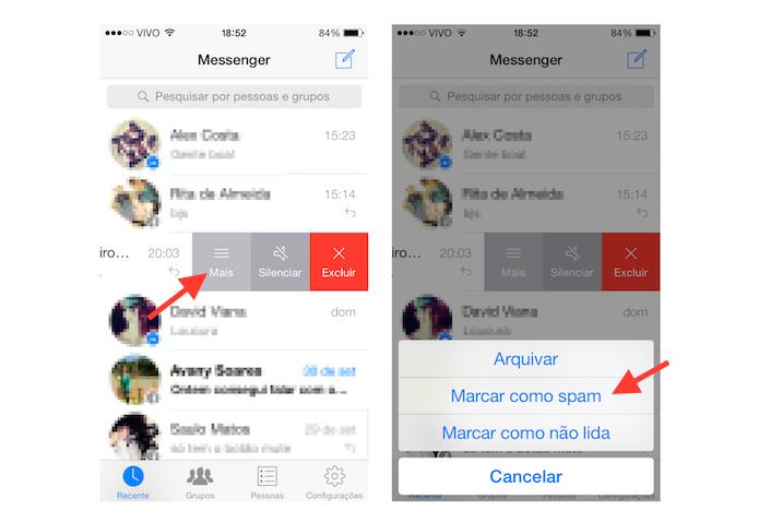 Marcando uma mensagem como spam no Facebook Messenger para iOS (Foto: Reprodução/Marvin Costa)