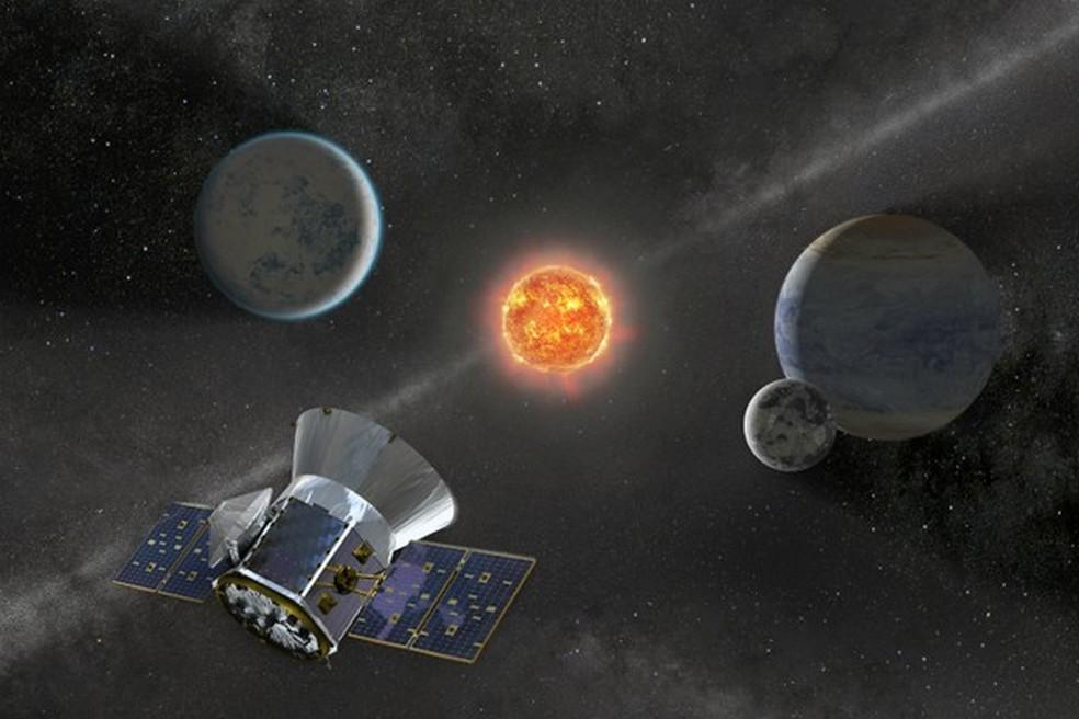 Satélite Tess, da Nasa, observa mais de 200 mil estrelas brilhantes em busca de planetas fora do sistema solar — Foto: Nasa