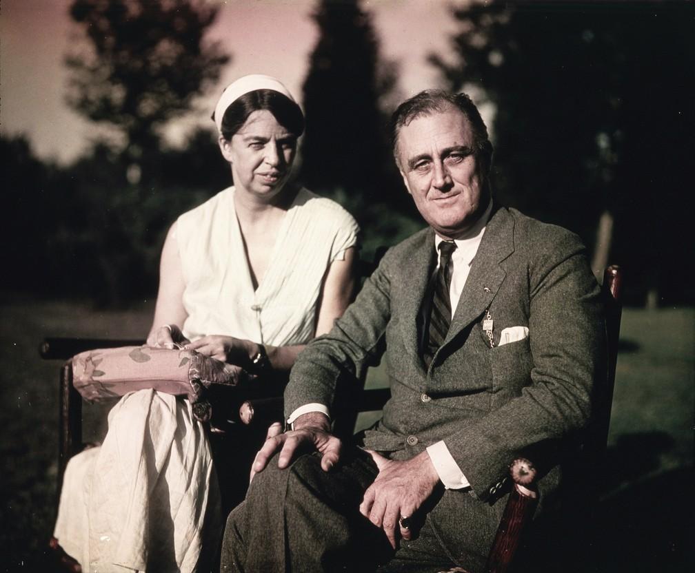 Franklin e Eleanor Roosevelt em agosto de 1932 (Foto: Oscar Jordan/FDR Presidential Library & Museum)