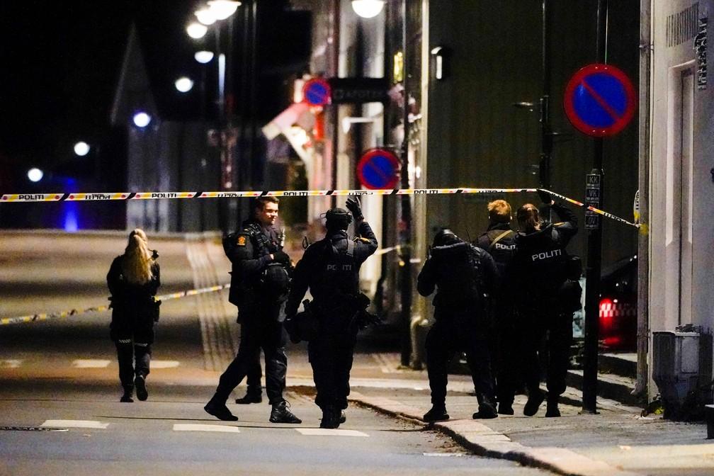Policiais vasculham área isolada em Kongsberg, Noruega, após ataque nesta quarta (13) por um assassino que usou arco e flecha — Foto: Hakon Mosvold/NTB via Reuters