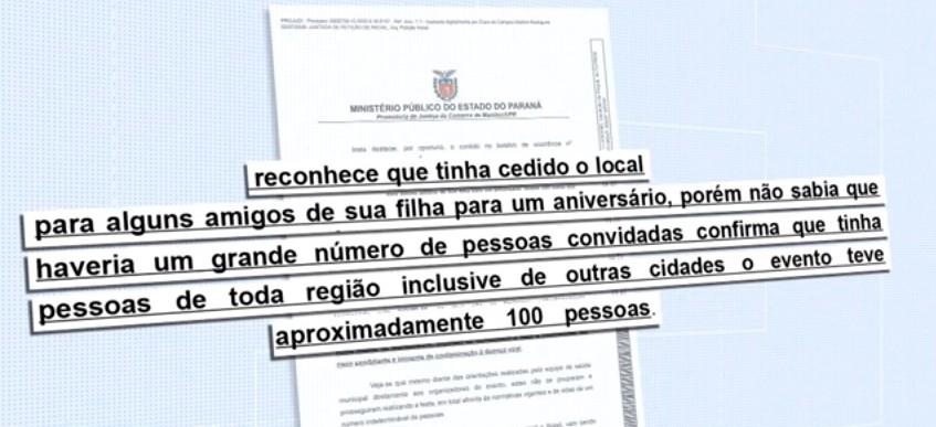 Coronavírus: MP-PR entra com ação contra pessoas que promoveram festa de aniversário com 100 convidados