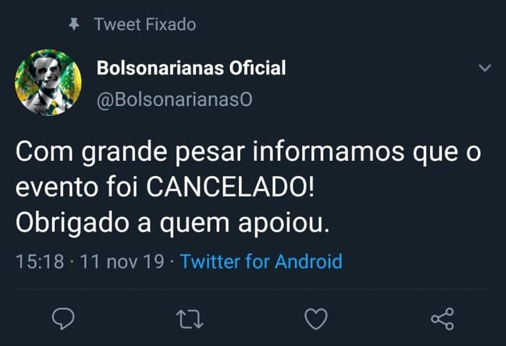 """Organizadores do congresso de """"bolsonarianas"""" anunciaram cancelamento do evento — Foto: Reprodução/Twitter"""