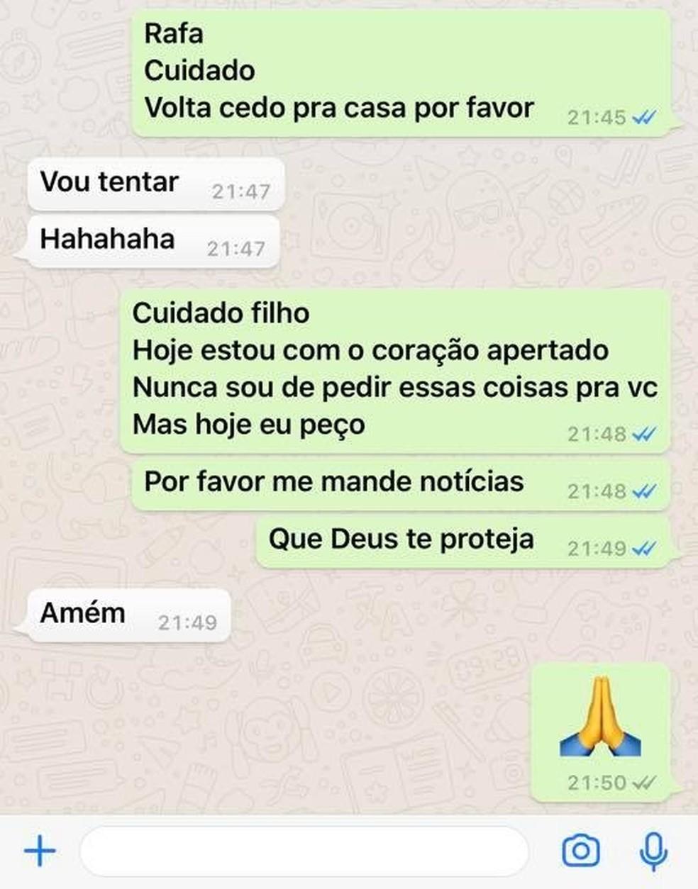 Mãe mandou mensagem horas antes de filho sofrer acidente em São Vicente (SP) — Foto: Arquivo Pessoal