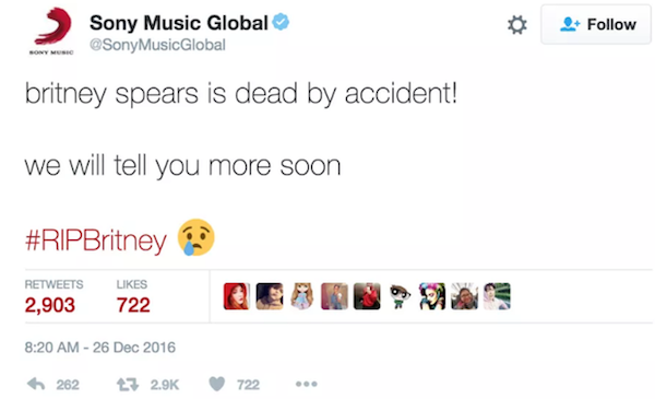 A mensagem noticiando a morte de Briney Spears (Foto: Twitter)