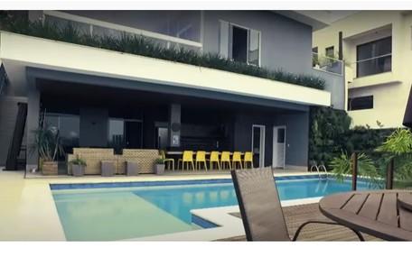 Piscina e varanda da casa de Projota, que fica localizada em área nobre de São Paulo. Ele mostrou no Programa da Eliana, no SBT Reprodução