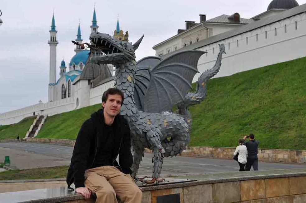 O brasileiro Fabrício Vitorino em Kazan, na Rússia (Foto: Arquivo pessoal/Fabrício Vitorino)