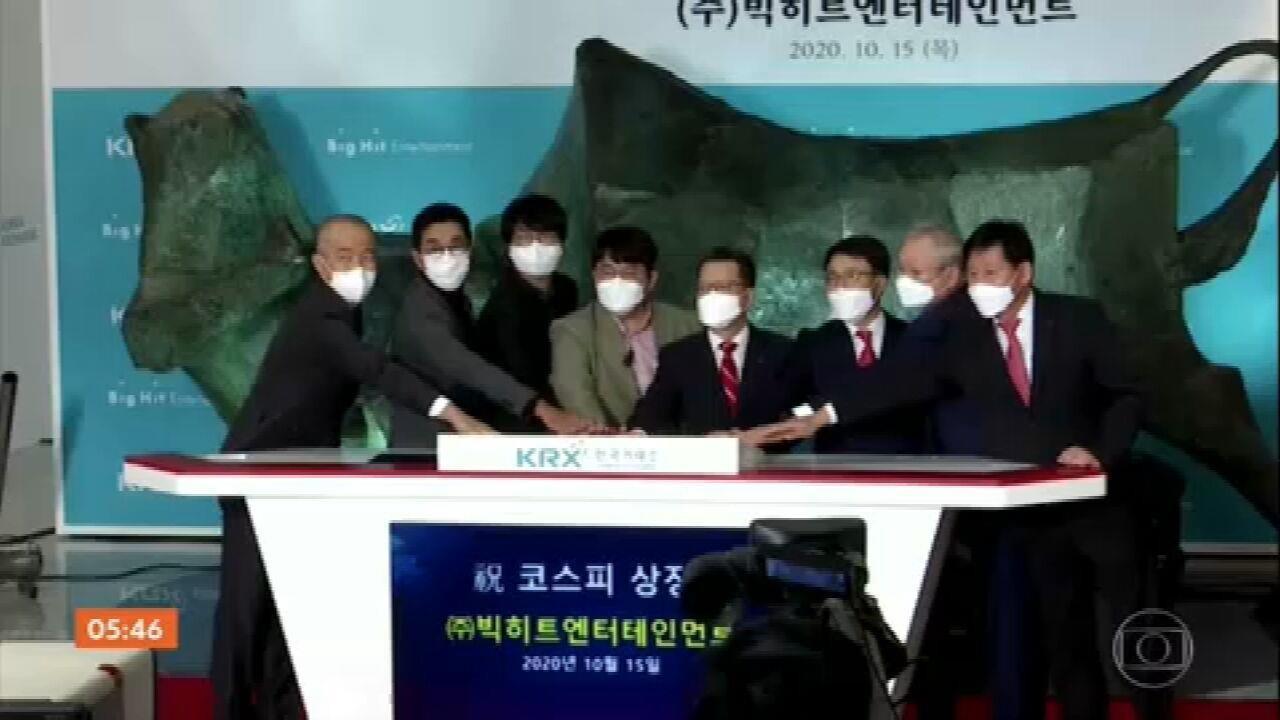 Ações da gravadora da banda sul-coreana BTS dobram de valor ao estrear na Bolsa de Seul