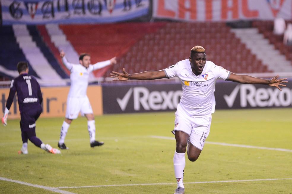 Martinez Borja comemora gol da LDU — Foto: Staff Images / CONMEBOL