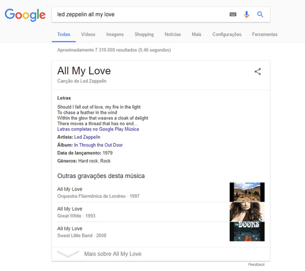 Google mostra letras de música nos resultados (Foto: Reprodução/Google)