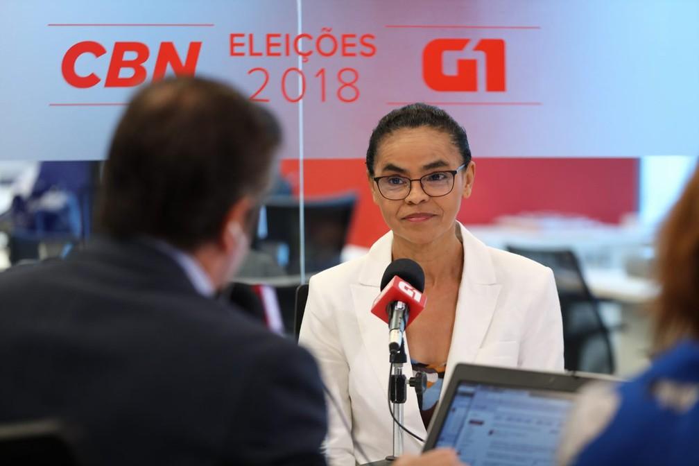 Marina foi entrevistada por jornalistas do G1 e da CBN, em São Paulo — Foto: Marcelo Brandt/G1