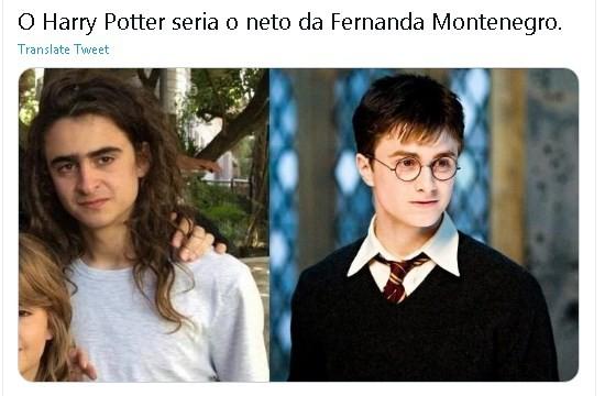 Meme nas redes sociais sobre a semelhança entre Joaquim Waddington e Daniel Radcliffe, intérprete do Harry Potter (Foto: Reprodução/ Twitter)