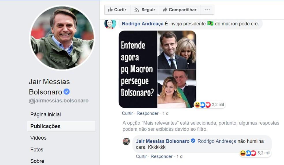 O presidente Jair Bolsonaro respondeu, no sábado (24), a um comentário sobre a primeira-dama da França, Brigitte Macron. — Foto: Reprodução/Facebook Jair Bolsonaro