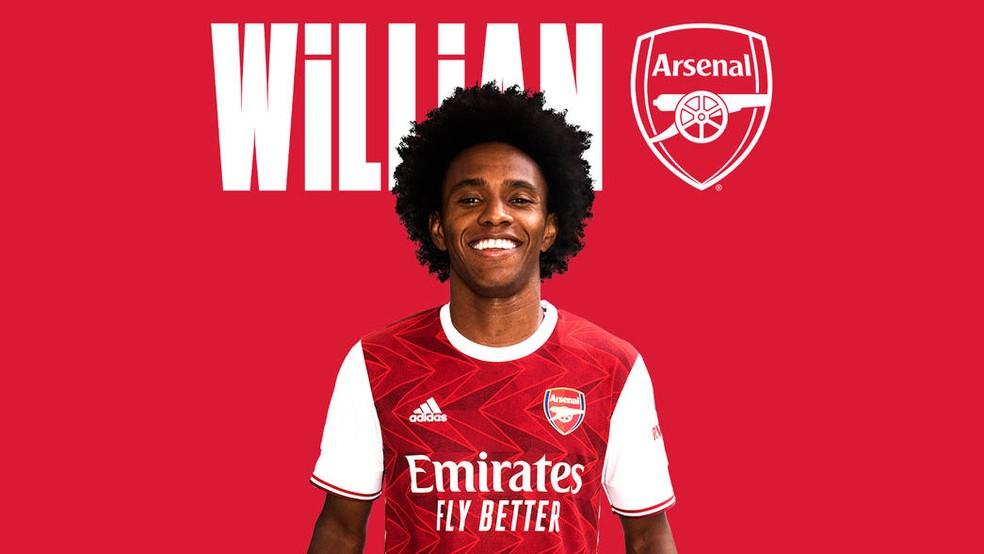 Willian é anunciado como novo reforço do Arsenal — Foto: Divulgação / Arsenal