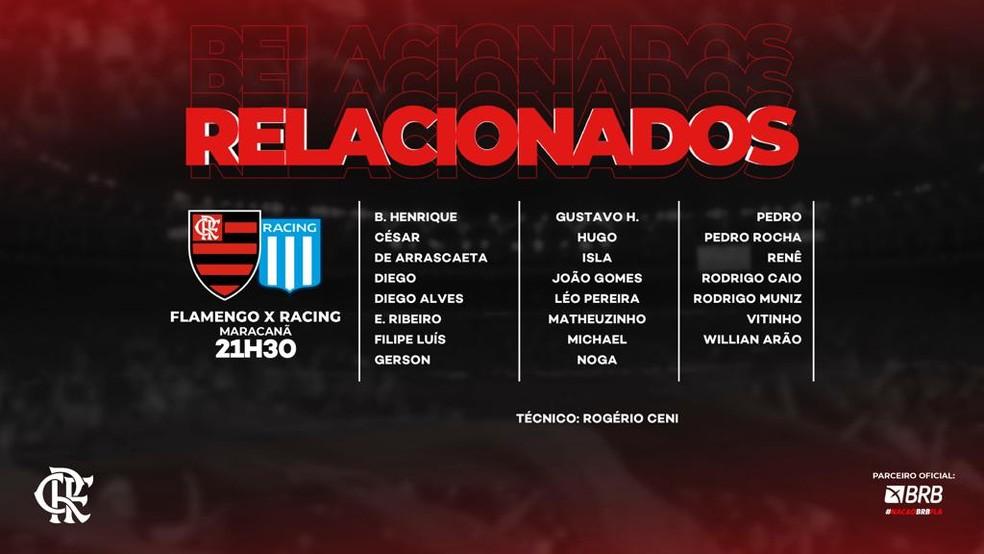 lista relacionados — Foto: Flamengo