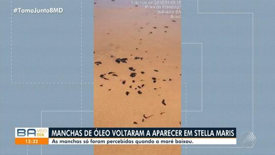 Manchas de óleo voltam a aparecer em Salvador e praia de Stella Maris tem novos registros de contaminação