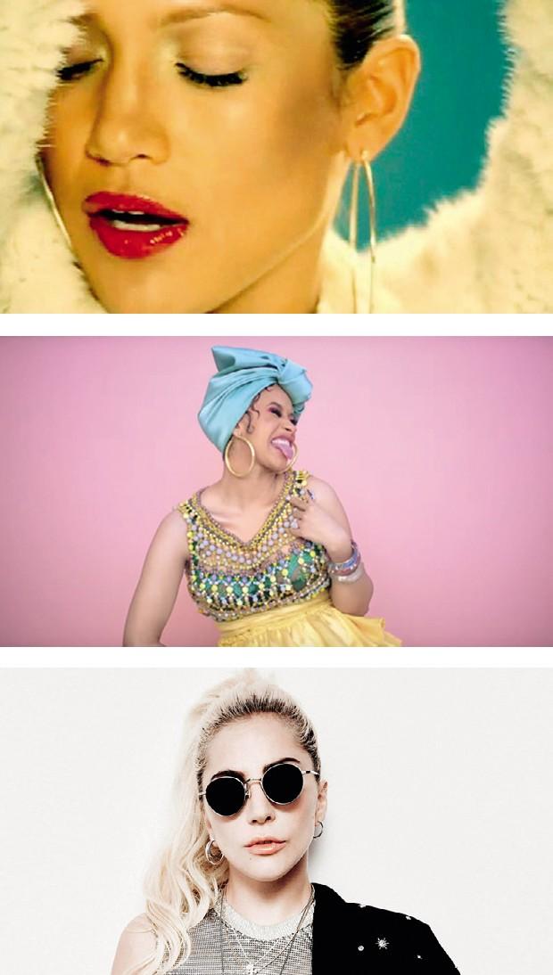 De cima para baixo: Jennifer Lopez, Cardi B e Lady Gaga (Foto: Mariano Vivanco/Arquivo Vogue, Rafael Pavarott I/Arquivo Vogue e Reptrodução)