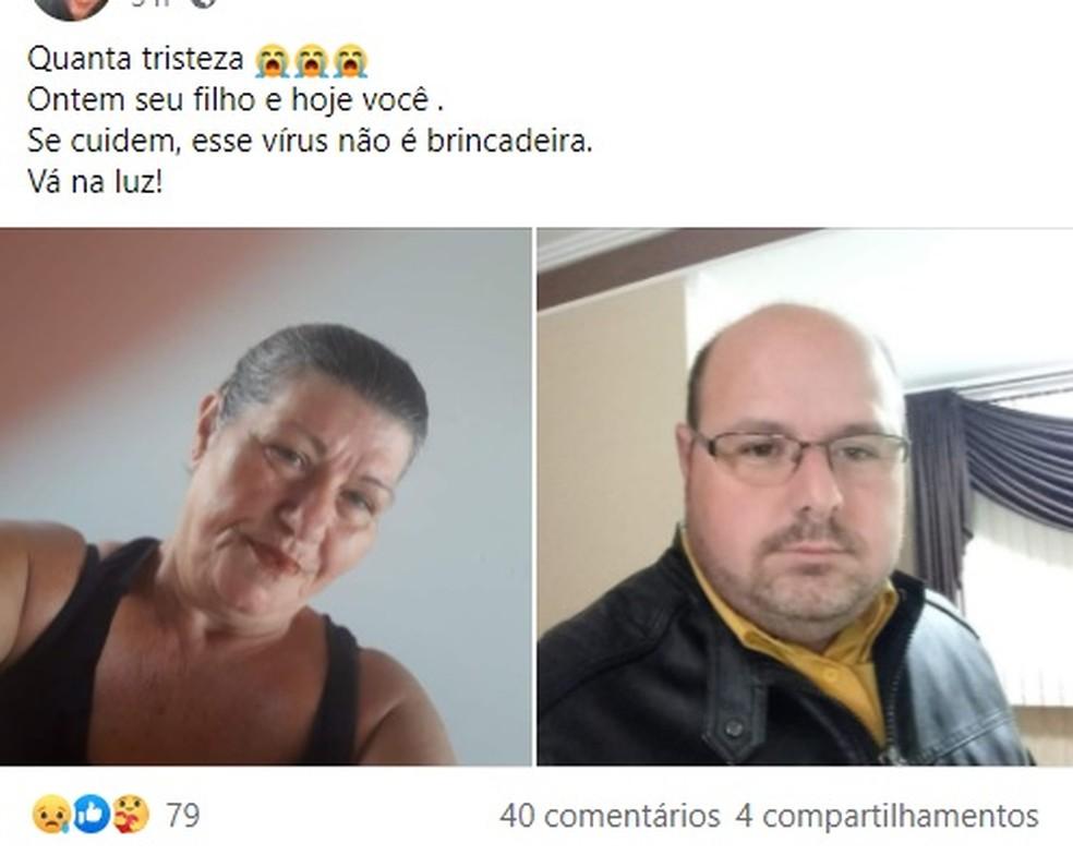 Amigos se despediram de mãe e filho, vítimas da Covid, pelas redes sociais — Foto: Reprodução/Facebook