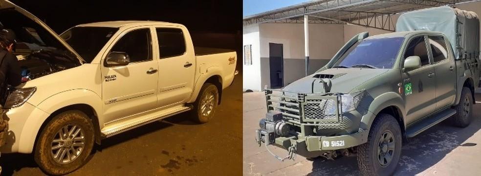 Caminhonete foi apreendida em 21 de julho com chassi clonado também de caminhão do Exército — Foto: Reprodução / Polícia Rodoviária Federal