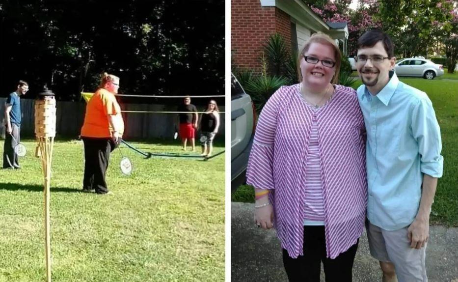 Antes e depois da americana Kayla Rahn. Na direita, com seu namorado Jonathan Pittman. (Foto: Arquivo pessoal)