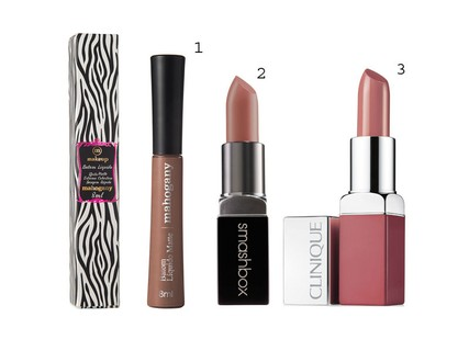 1. Batom Líquido Matte Make Up Sweet Peach, Mahogany, R$ 29 2. Batom Be Legendary Lipstick Honey, Smashbox, R$ 89 3. Batom Pop Lip Colour Blush Pop, Clinique, R$ 69