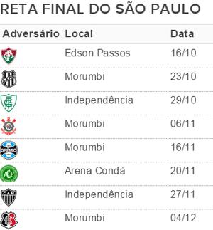 Reta final do São Paulo: oito jogos (Foto: GloboEsporte.com)