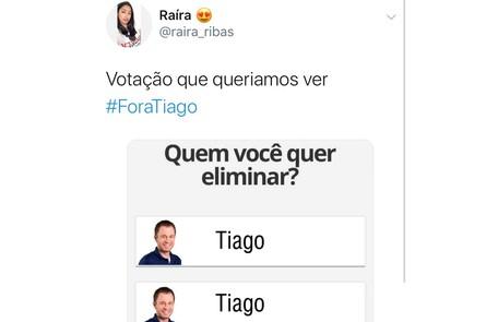 Meme com os pedidos da saída do apresentador Tiago Leifert do 'Big Brother' Reprodução/ Twitter