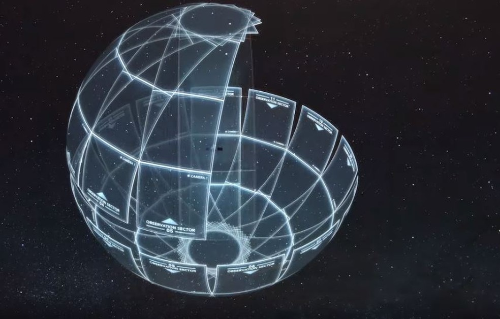 Área de cobertura do satélite TESS. As atualizações são feitas a cada meia hora. — Foto: Reprodução/Nasa