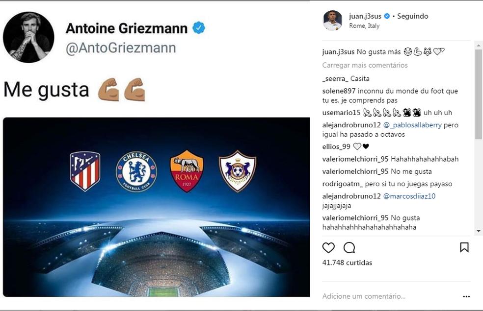 Juan Jesus faz piada com post de Griezmann (Foto: Reprodução / Instagram)