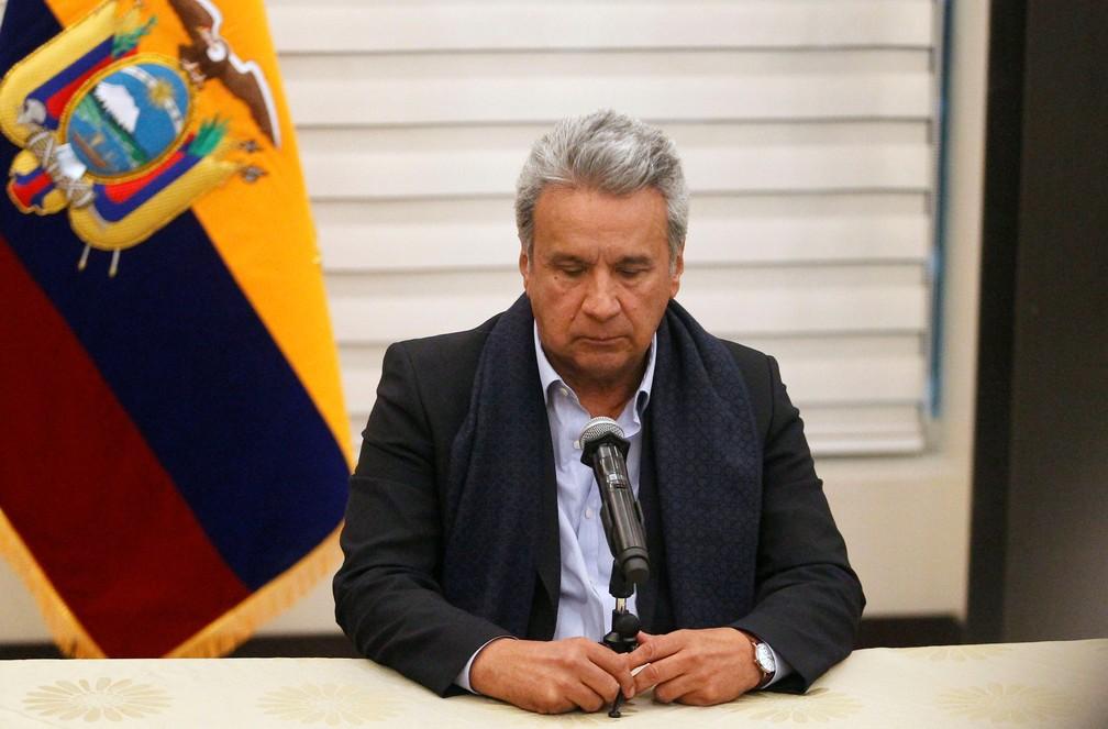 Lenín Moreno, presidente do Equador, confirma em coletiva de imprensa a morte dos jornalistas do jornal 'El Comercio' que foram sequestrados (Foto: Daniel Tapia/Reuters)