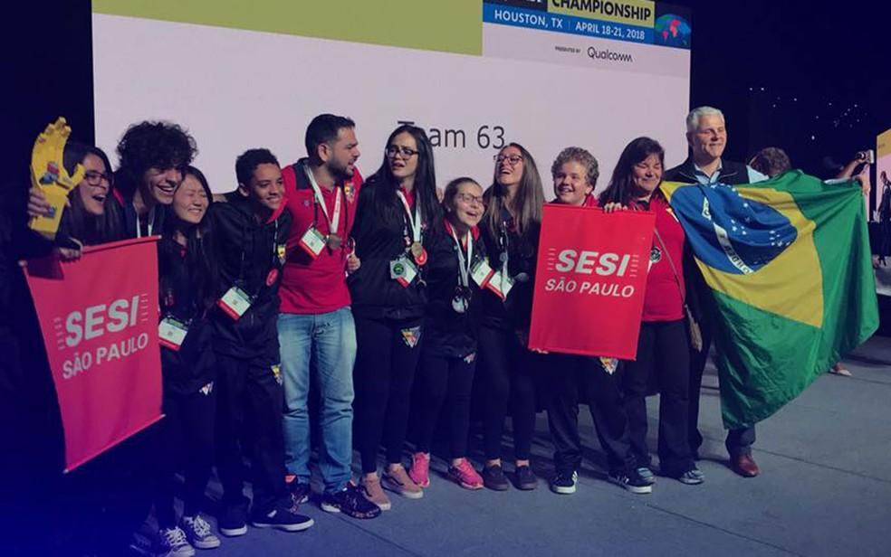 Equipe de alunos do Sesi de Americana (SP) vence campeonato mundial de robótica nos EUA. (Foto: Vinícius Hirose/Sesi-SP/Divulgação)