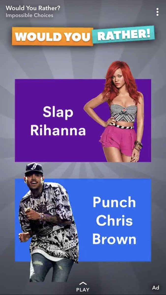 A íntegra do anúncio com referência às agressões de Chris Brown contra Rihanna (Foto: Snapchat)