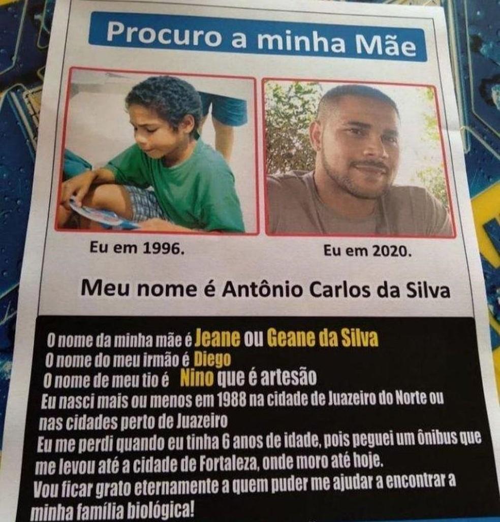 Antônio Carlos imprimiu dois mil panfletos para tentar encontra a mãe — Foto: Arquivo pessoal