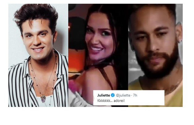 Luan Santana e Neymar foram citados por fã de Juliette e ela aprovou: 'Adorei (risos)' (Foto: Reprodução)