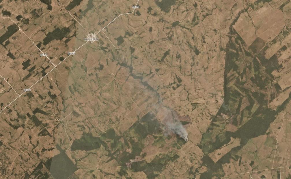 Incêndio em Nova União (RO) nesta semana — Foto: Planet Labs