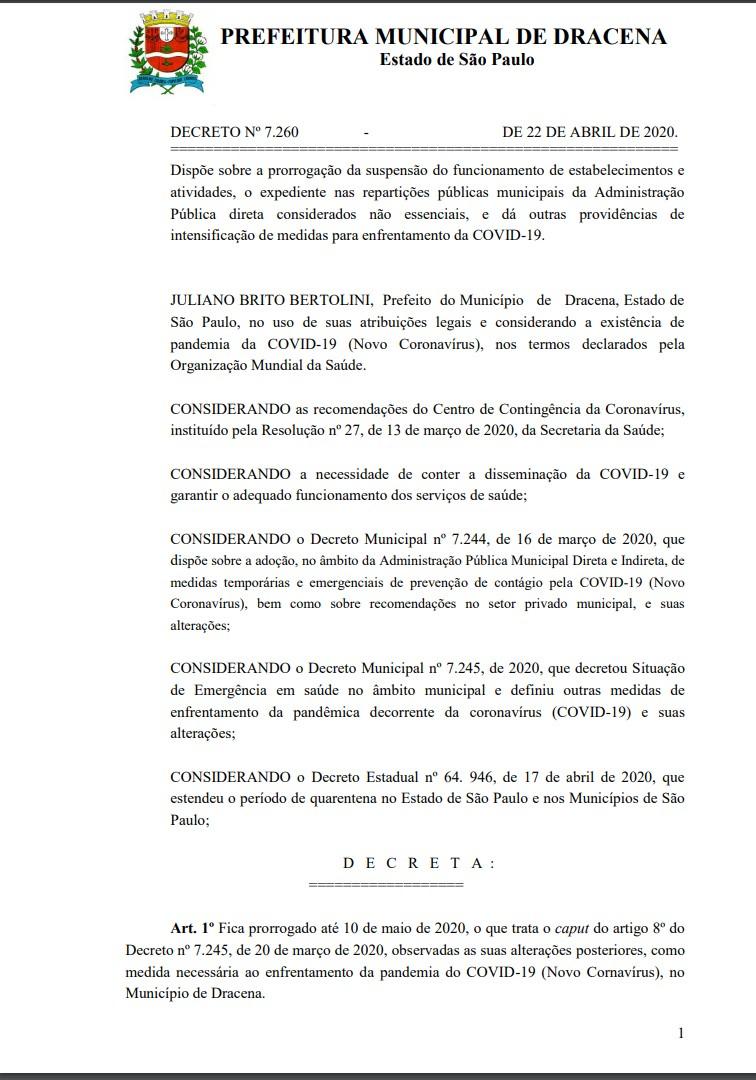 Prefeitura de Dracena prorroga situação de emergência no município devido à pandemia da Covid-19
